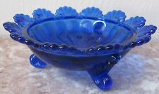 Berry Bowl - 3 Footed Klondyke Pattern - Cobalt Blue Glass