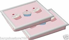 Cupcake Set of 2 Modern Bean Bag Padded Cushioned Lap TV Dinner Laptop Tray New