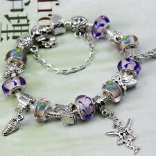 Fashion Lady Silver Charm Purple European Bead Angel Shoe Chain Bracelet Bangle