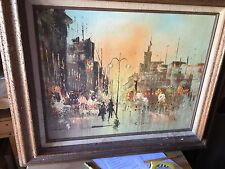 vintage STREET SCENE signed by S.Diviy,16x20 o/c,Paris? cityscape