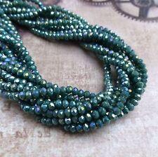 Filamento de 150 CUENTAS FACETADO Mini Rondelle Perlas Brillantes Perlas de Vidrio Mar Verde