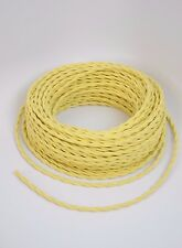 Cotton Twisted Cloth Covered Electrical Cord Wire LENGTH BY FOOT Yellow Cord