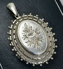 Victorian Large SOLID SILVER Engraved FLOWERS Ornate Beaded Edge LOCKET Pendant