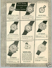 1954 PAPER AD 2 Sided Gallet Chronograph Flight Officer Calendar Racine Watch
