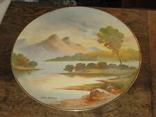 LATE 19TH CENTURY HAND PAINTED ART POTTERY CHARGER LOCH ACHRAY SCOTLAND