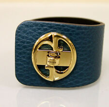 "$550 NEW Authentic GUCCI ""1973"" Leather Bracelet Bangle w/Gold G,18,Blue,253514"
