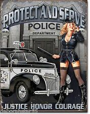 Large Protect & Serve Police Pin Up Girl Retro Vintage Metal Tin Sign New 1721