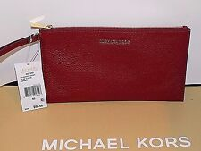 Authentic MICHAEL KORS MK BEDFORD Leather CHERRY Large CLUTCH wristlet Classy NW
