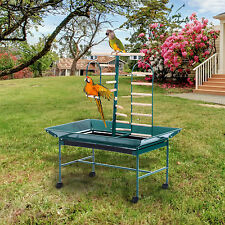 PawHut 53″ Large Bird Play Stand Parrot Pet Gym Perch w/ Wheel Bowl Ladder Swing