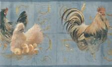 Wallpaper Border Rooster Chicken Baby Chicks on Light Blue with Gold Scroll