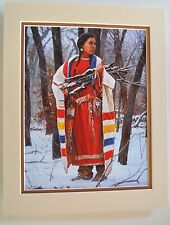 Cheyenne Wood Gatherer by Martin Grelle Native American Tan 9x12 Double Matted
