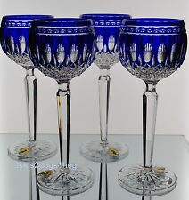 4 Waterford Cobalt Blue Cut to Clear Crystal Clarendon Wine Hocks Goblets New