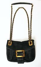 ROGER VIVIER Black Suede METRO Small Crossbody Chain Buckle Handbag Bag Purse