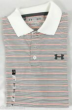 Under Armour MEN'S Athletic Golf Polo Loose White Grey Orange Stripes NWT Size L