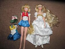 "1992 Bandai Sailor Moon & 2001 Irwin Princess Serenity 11.5"" Doll + Outfit Lot"