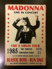 MADONNA THE VIRGIN TOUR1985 VINTAGE RETRO STYLE METAL WALL SIGN  20X30 CM