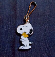 New Snoopy Dog Hugging Woodstock Charm Zipper Pull Clip On Cartoon Character