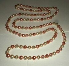 "50"" VERY LONG PEACH PINK & CREAM GLASS PEARL KNOTTED BEADED FLAPPER NECKLACE BD"