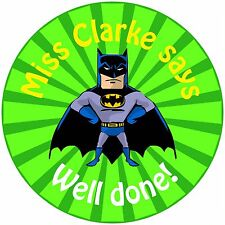 80 Personalised Teacher Reward Stickers for Pupils Green Batman Gotham