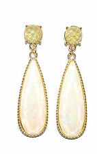1930s Vintage Style Art Deco Gold Cream Faux Opal Earrings Stud Drop Green 1413
