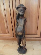 Vintage hand carved statue African man holding bowler hat heavy wood Nigeria ??