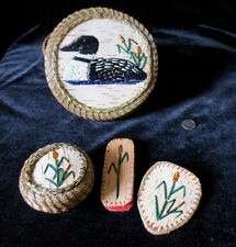 LOON SEWING BASKET w/3 smaller baskets: porcupine quill / sweetgrass, P St John