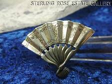 """VINTAGE NAPIER FAN with BOWS STERLING SILVER 925 ESTATE 1 3/8"""" BROOCH / BROACH"""