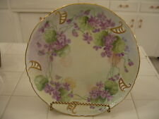 Nice Vintage Hand Painted HP Plate Charger With Violets Gold Trim Signed Limoges