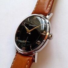 LONGINES 30L Black dial, Steel case - Vintage 50s Swiss Made wristwatch watch