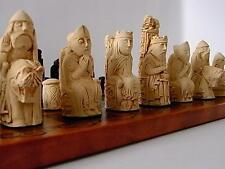 beautiful heavy medieval / isle of lewis style chess set chessmen game pieces
