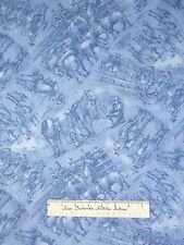Western Fabric - Red River III Blue Cowboy Ranch Toile - RJR Cotton YARD