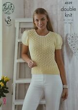 Knitting pattern femme court à manches bouffantes col rond dentelle top dk king cole 4529