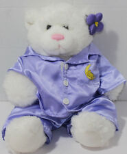 Build a Bear Workshop WHITE TEDDY BEAR IN PURPLE PAJAMAS Stuffed Plush TOY BABW