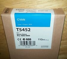 01-2017 New Genuine Epson T5452 110ml Cyan Ink for Stylus Pro 7600, 9600