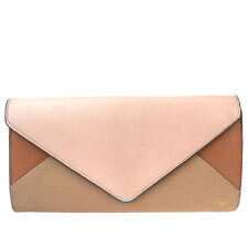 Authentic CHLOE Logos Long Bifold Wallet Purse Leather Pink Made In Spain 07R627