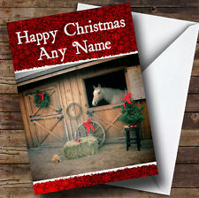 Horse In Stable Christmas Greetings Card Personalised