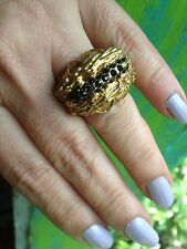 Banana Republic Cocktail Ring Antique Gold. Color With Black Stone Sz 8