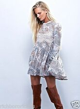 NWT Free People tan blue gray lace trim Sweet Thing Print Swing Tunic Dress M