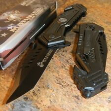 MARINES Spring Assisted OFFICIALLY LICENSED USMC Tactical Rescue Pocket Knife!!