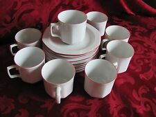 Seltmann Weidner Bavaria W Germany 8 cup saucer set white red rims octagonal