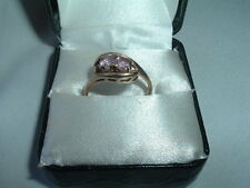 Vintage Solid 10k Yellow Gold Pink Topaz Ring Size 8.25 in Ring Box