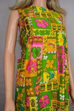 Vtg 1960's Neon Drum Fish NOVELTY Hawaiian Mini Dress Beach Swimsuit Cover Up XS