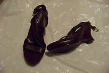 womens aerosoles substance brown leather strappy wedge heels shoes size 7 1/2