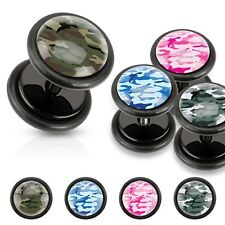 Black Acrylic Fake Plugs Camouflage Print Inlayed Green and White Earrings Pair
