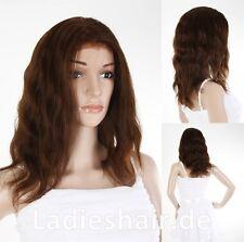 Ladieshair Full Lace Wig Echthaarperücke in braun 42cm wellig HNR-F766