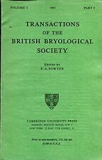 Sowter, F A (editor) TRANSACTIONS OF THE BRITISH BRYOLOGICAL SOCIETY 1950 VOLUME