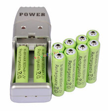 Batteria ricaricabile 10X AAA 3A 1800mah1.2V NiMH USB Charger + Verde