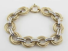 "14K Yellow And White Gold Braided Rolo Link Toggle clasp Bracelet 8"" 14 grams"