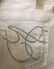 NWT ADRIANO GOLDSCHMIED Sz27 THE ANGEL BOOTCUT STRETCH CORD W/LOGO SWAROVSKY JEA