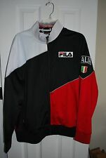 Vintage Authentic FILA SPORT ITALIA Black Red Track Jacket Mens L LARGE Italy